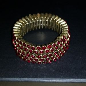 Five Rows of Ruby Red Rhinestone Stretch Bracelet
